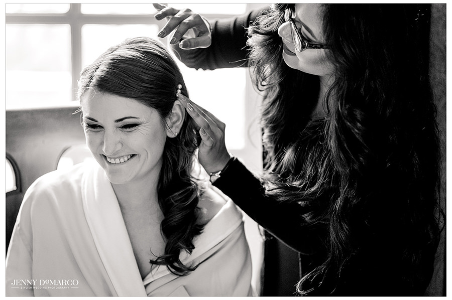 a beautiful shot of the bride as she gets ready for the big day