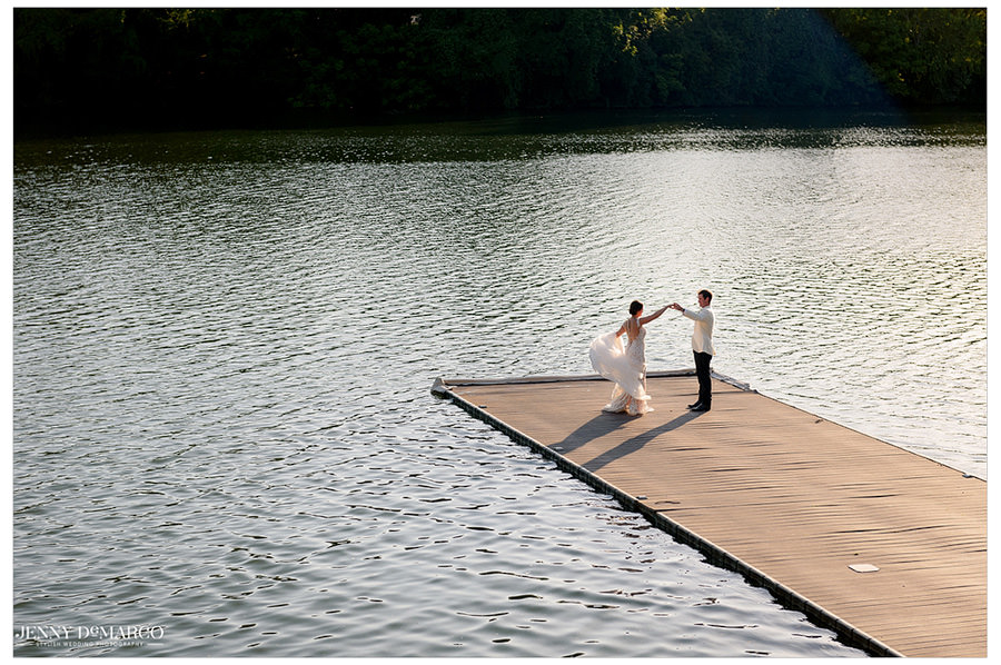 Brooke and Blake sneak off to the lake to share a dance on a dock.