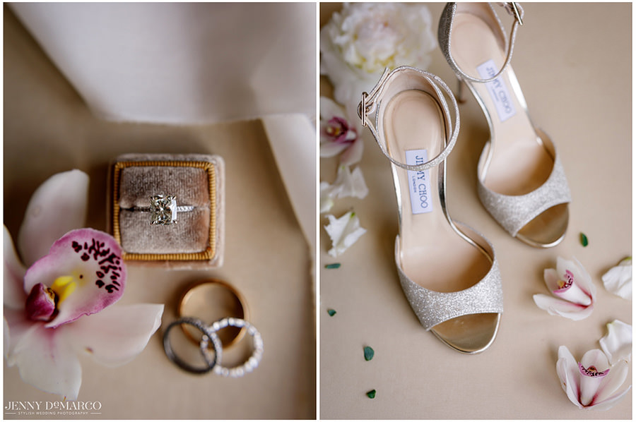 Detail shot of the brides heals and the wedding bands.