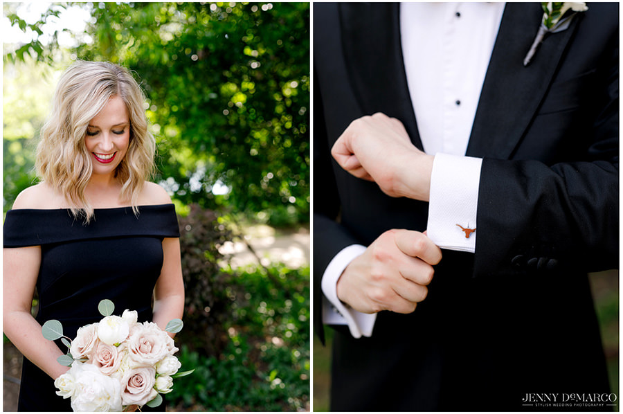 A side by side of a bridesmaids and groomsmen attire.