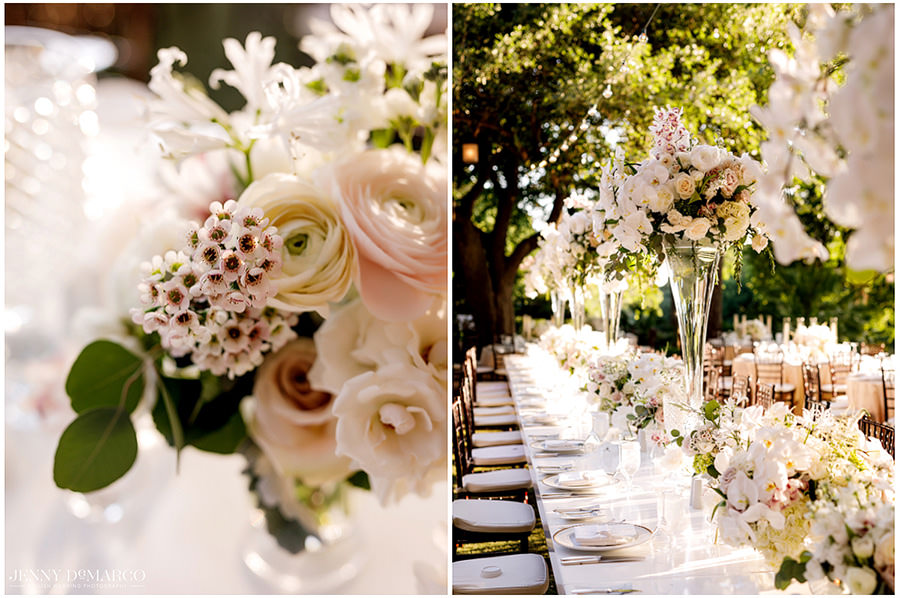 A sea of blush toned roses decorated the reception.