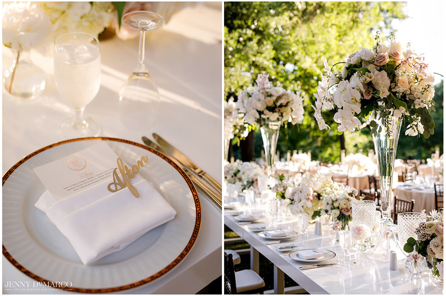 The wedding favored blush pink and white tones in its decorations.