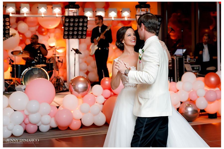 Brooke and Blake share their first dance together on the dance floor.