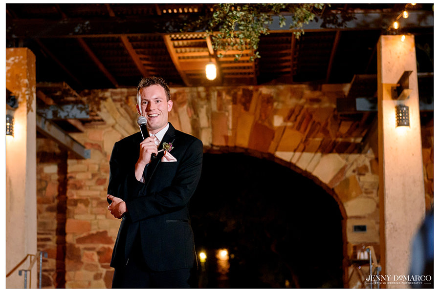 Best man gives his heartfelt speech to the groom.