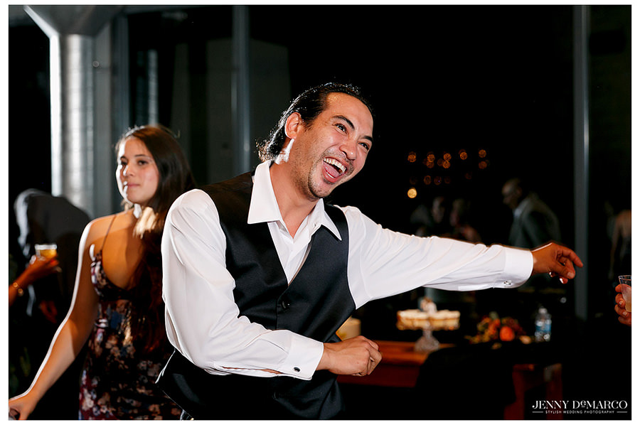 One guest is not afraid to break it down on the dance floor.