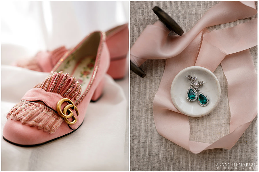 Detail photos of the bride's Gucci designer shoes and emerald green earrings.