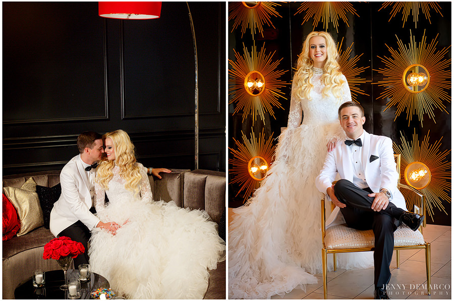 Sheridan and Tyler pose for classy photos as a newlywed couple.