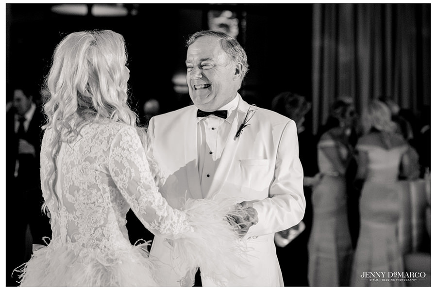 A sweet moment as the father dances with his newly-wedded daughter.