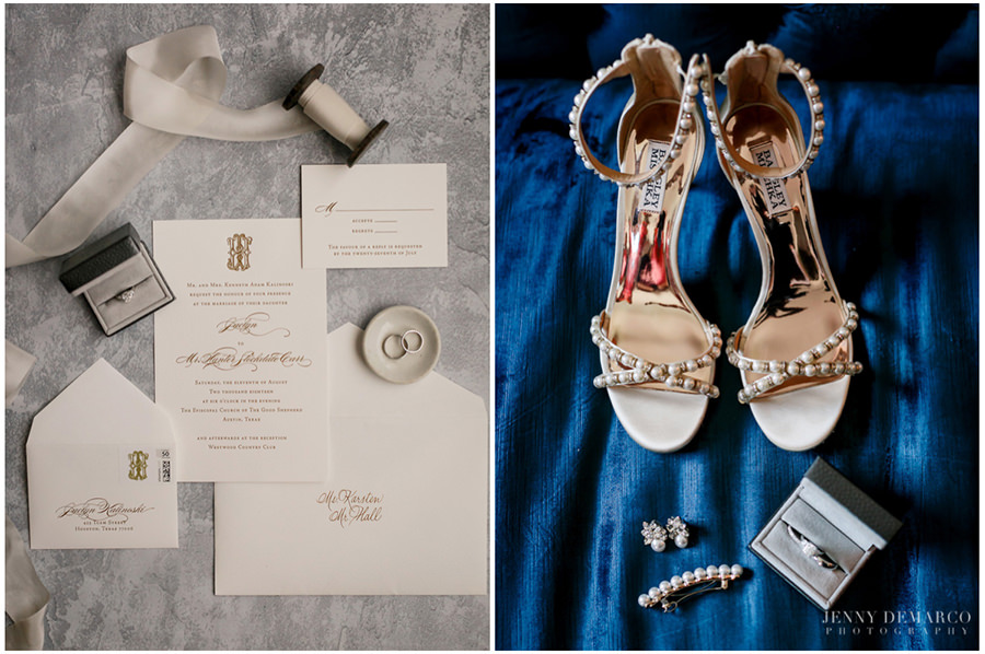 Detail shot of the bride's shoes and her stationary.