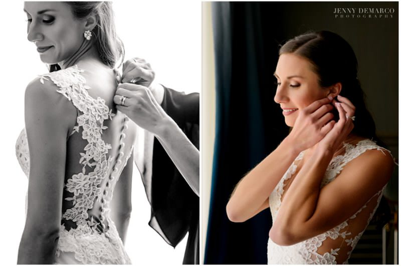 Bride puts on her lace wedding dress and diamond earrings to complete her look.