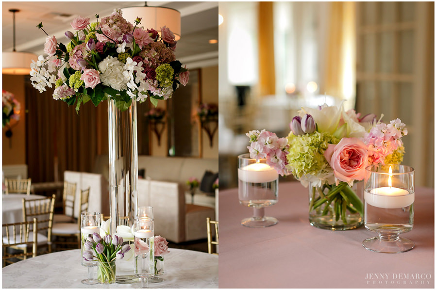 Detail shots of the pink tones florals that decorate the reception's tables.