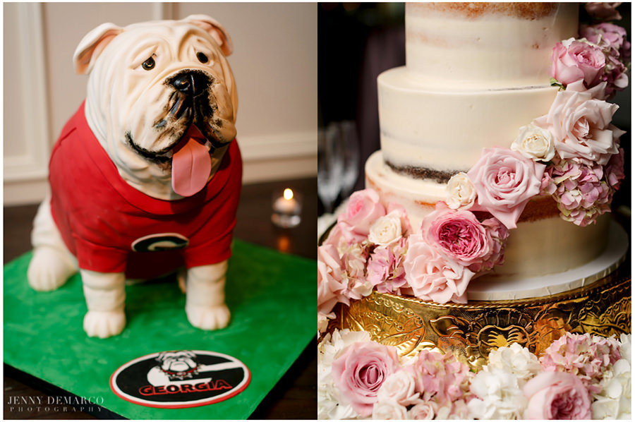 A cute Georgia bulldog is the grooms cake. While the wedding cake is wrapped in beautiful pink roses and gold accents.