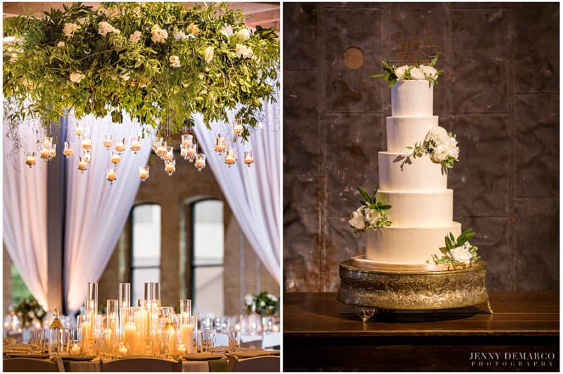 A shot of the candlelit reception tables and a shot of the all white wedding cake decorated with white and green florals.