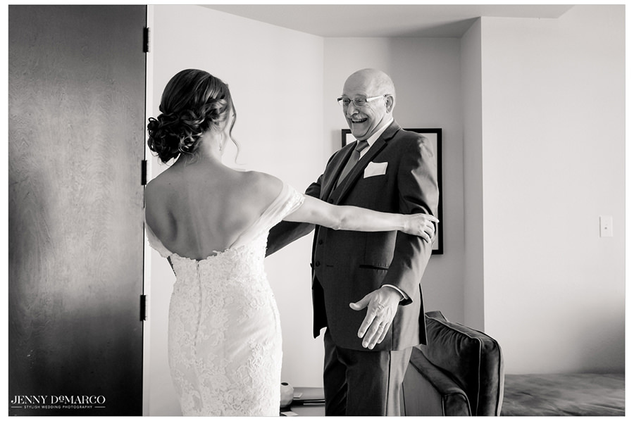 Father of the bride sees his daughter for the first time today.