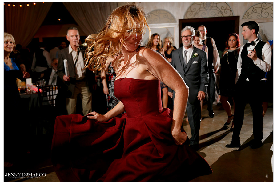 Guests whip their hair on the dance floor.