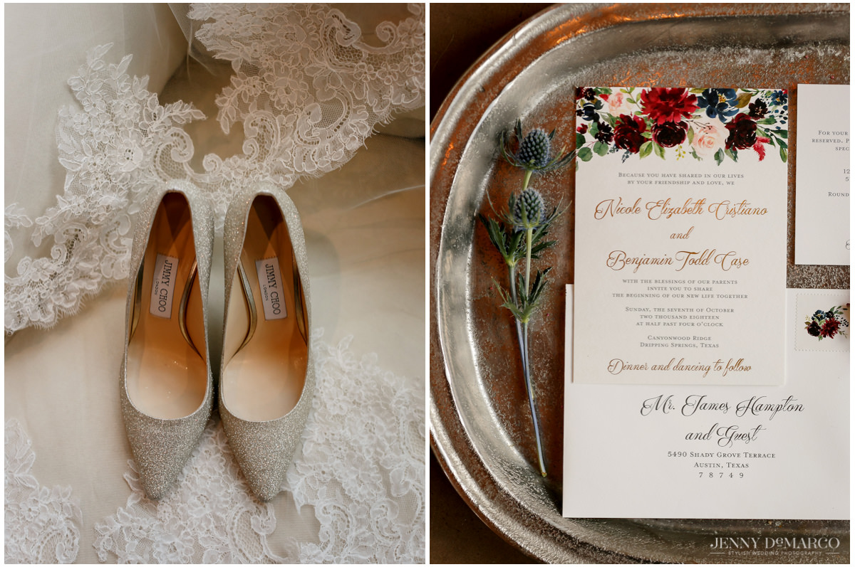 Detail photos of the wedding invitation and bride's shoes.