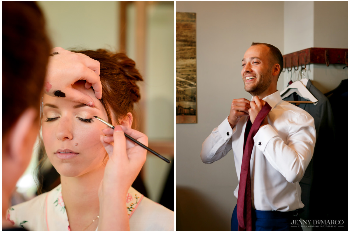 Bride gets her makeup done while the groom puts on his tie.