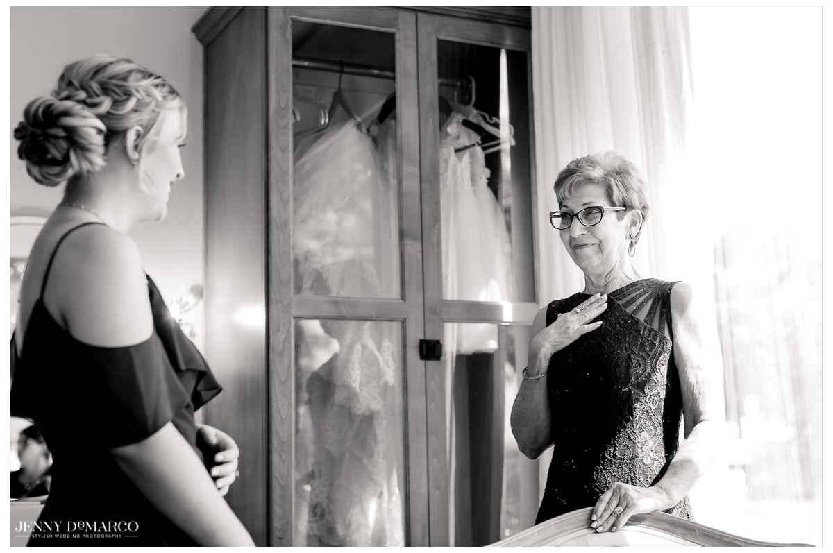 The bridesmaids share a moment of excitement for the big day.
