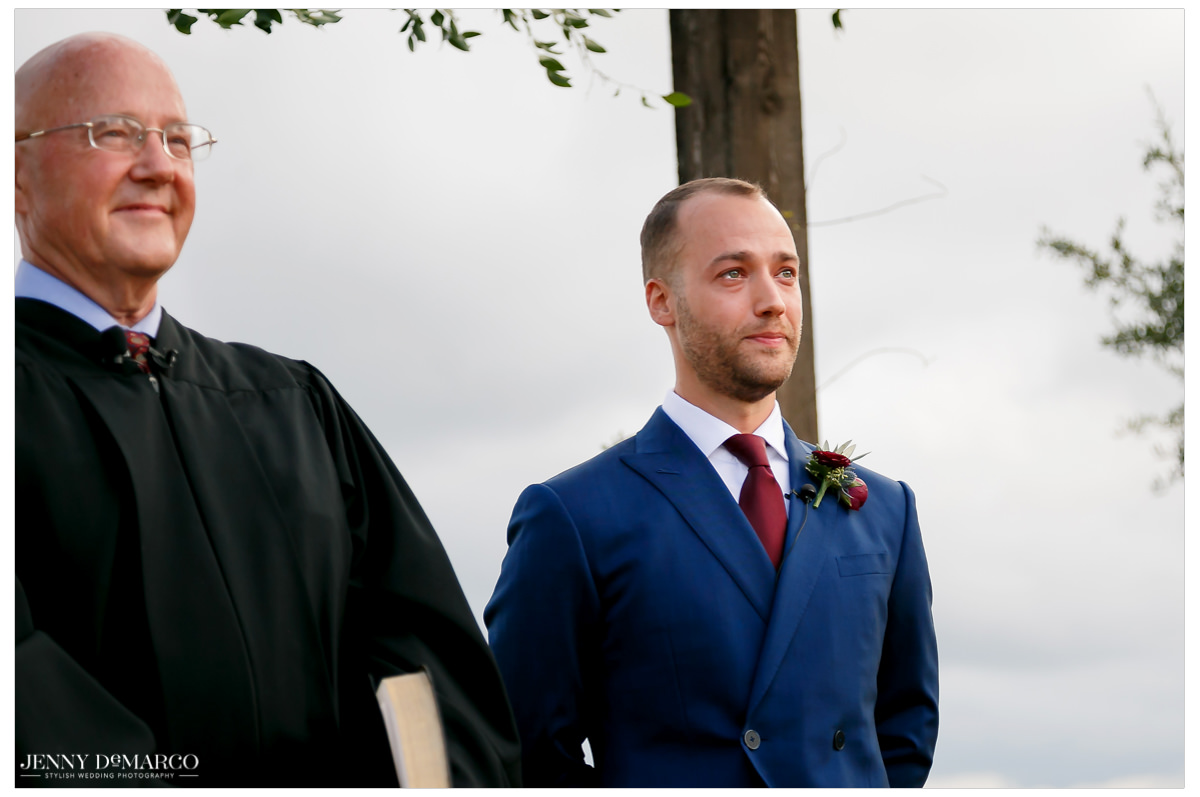 Groom get steady eyed as he sees his bride.