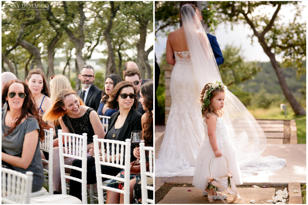 Shots of the wedding guests and the flower girl during the ceremony.