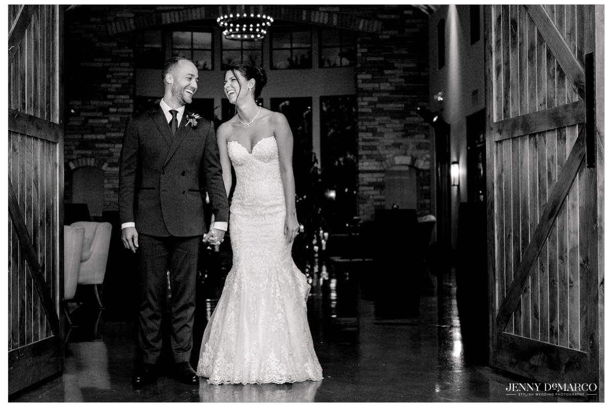Bride and groom enter the reception area.