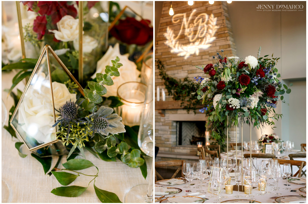 Details photos of the red and green floral arrangements.