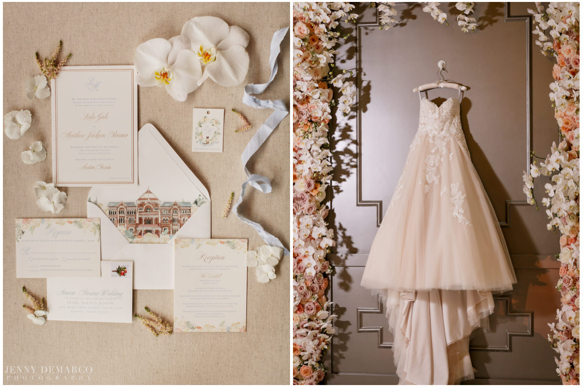 Detail photos of the wedding invitations and bride's ball gown wedding dress.