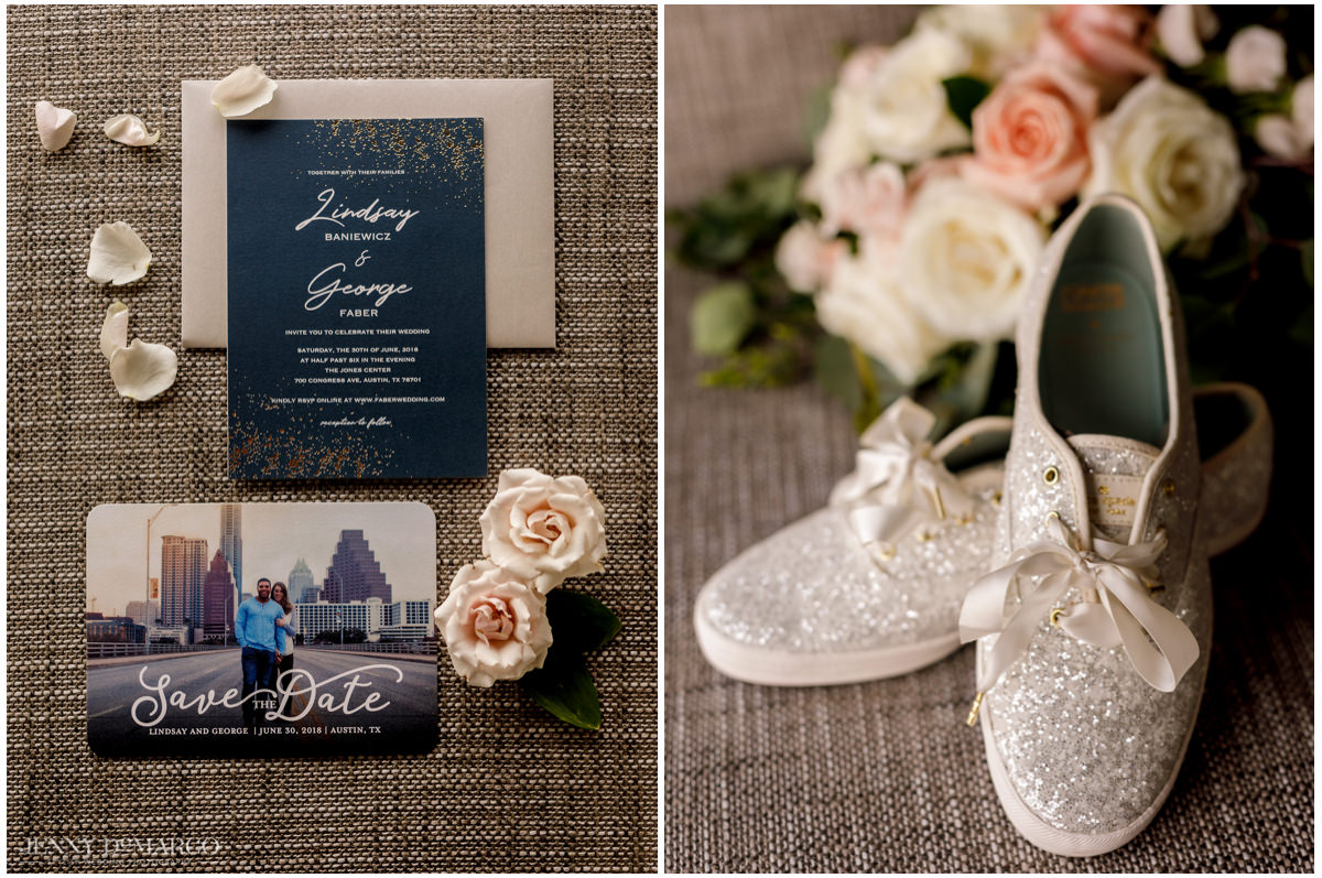 Detail photos of the wedding announcement and the brides sparkly sneakers.
