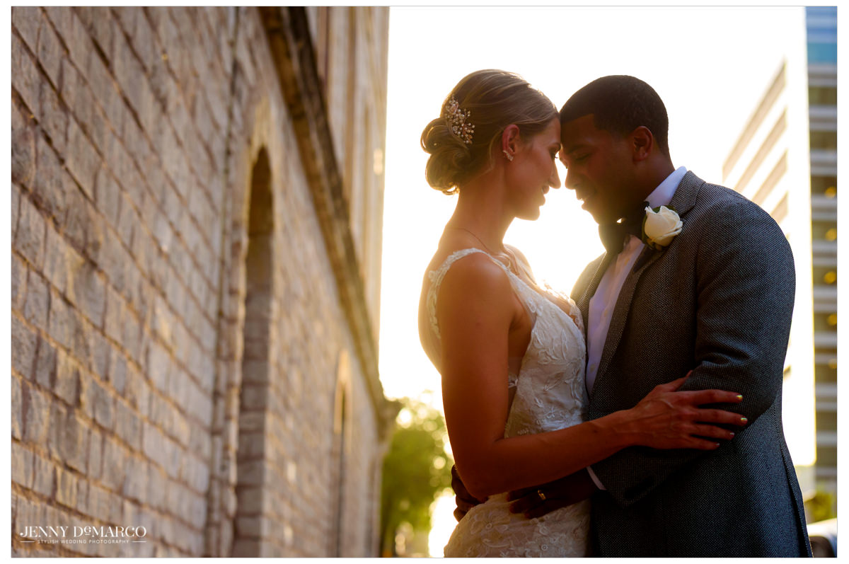 An intimate photo of the bride and groom at sunset.