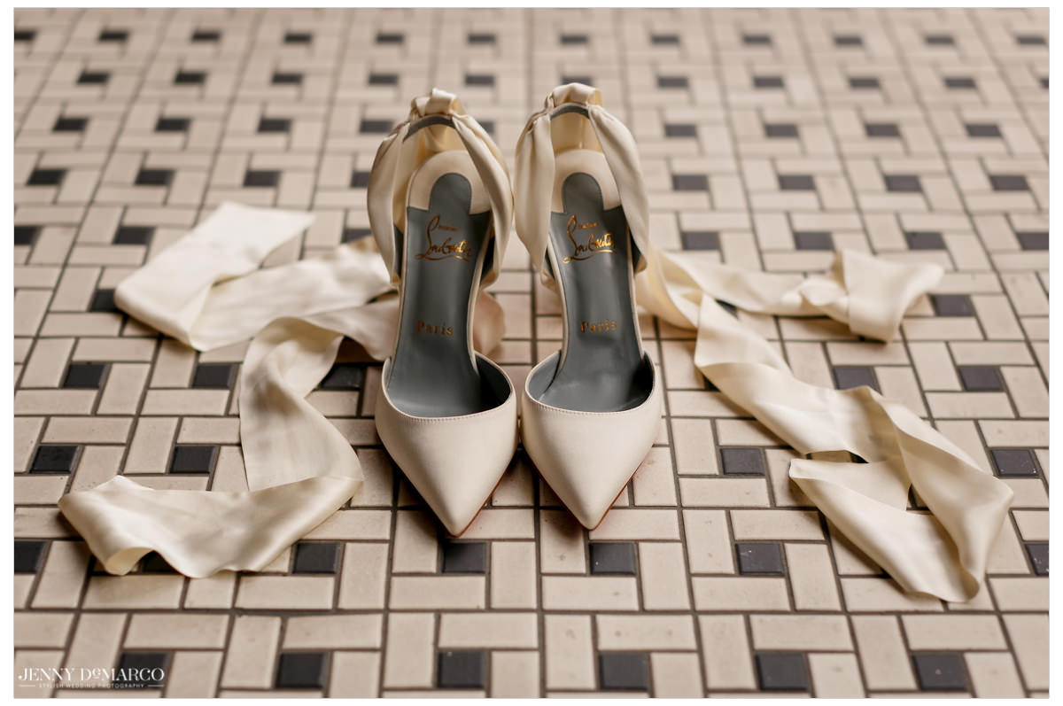 A detail shot of the brides nude heels.