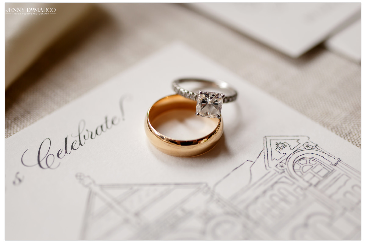 A detail shot of the bride and grooms wedding bands.