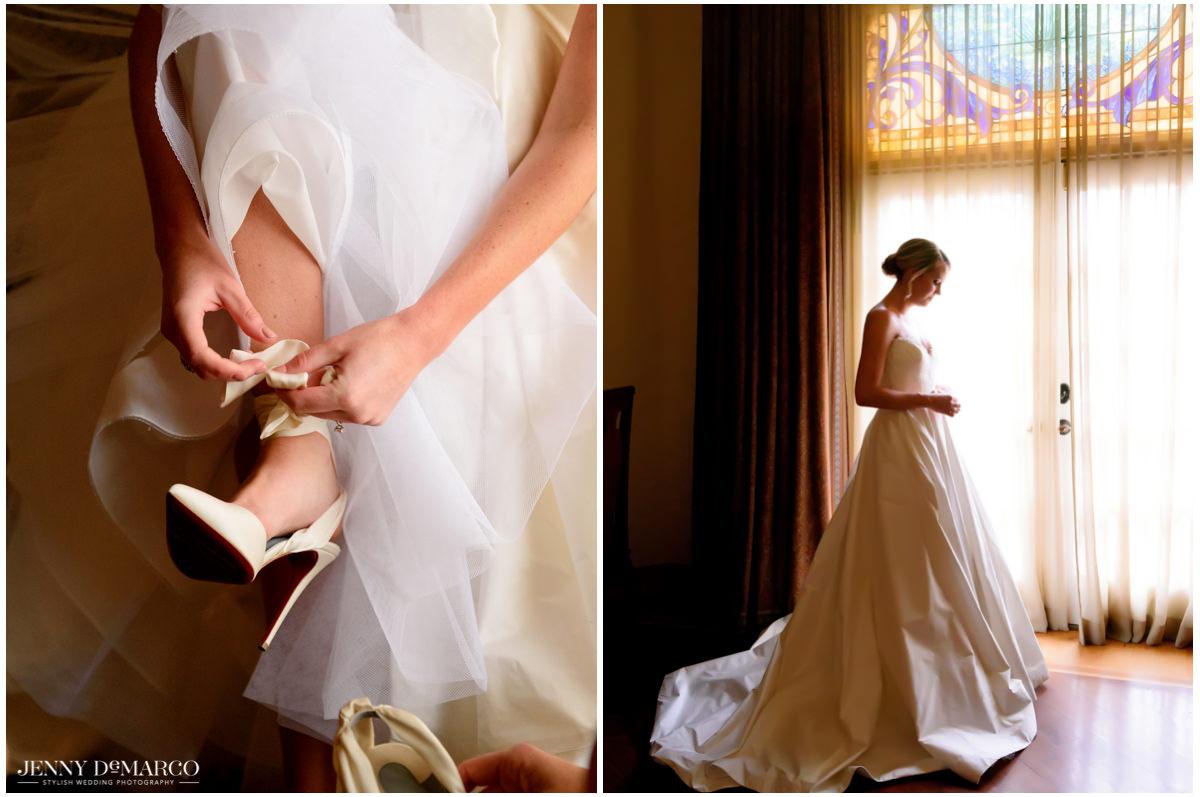 Bride's look is complete as she ties her heels.