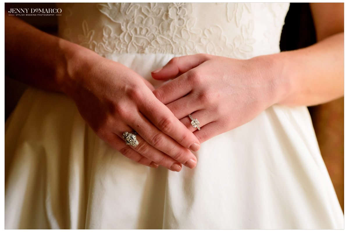 A detail shot of the brides rings.