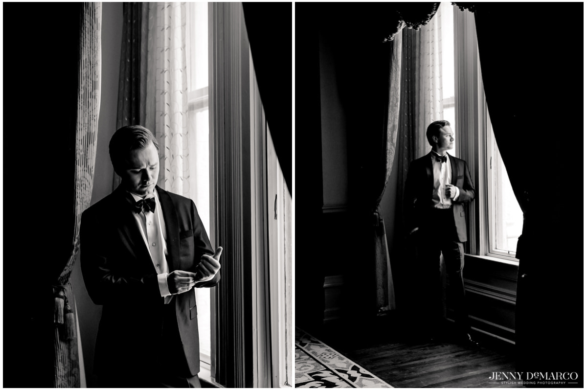 Groom poses for portraits near a window as the ceremony approaches.