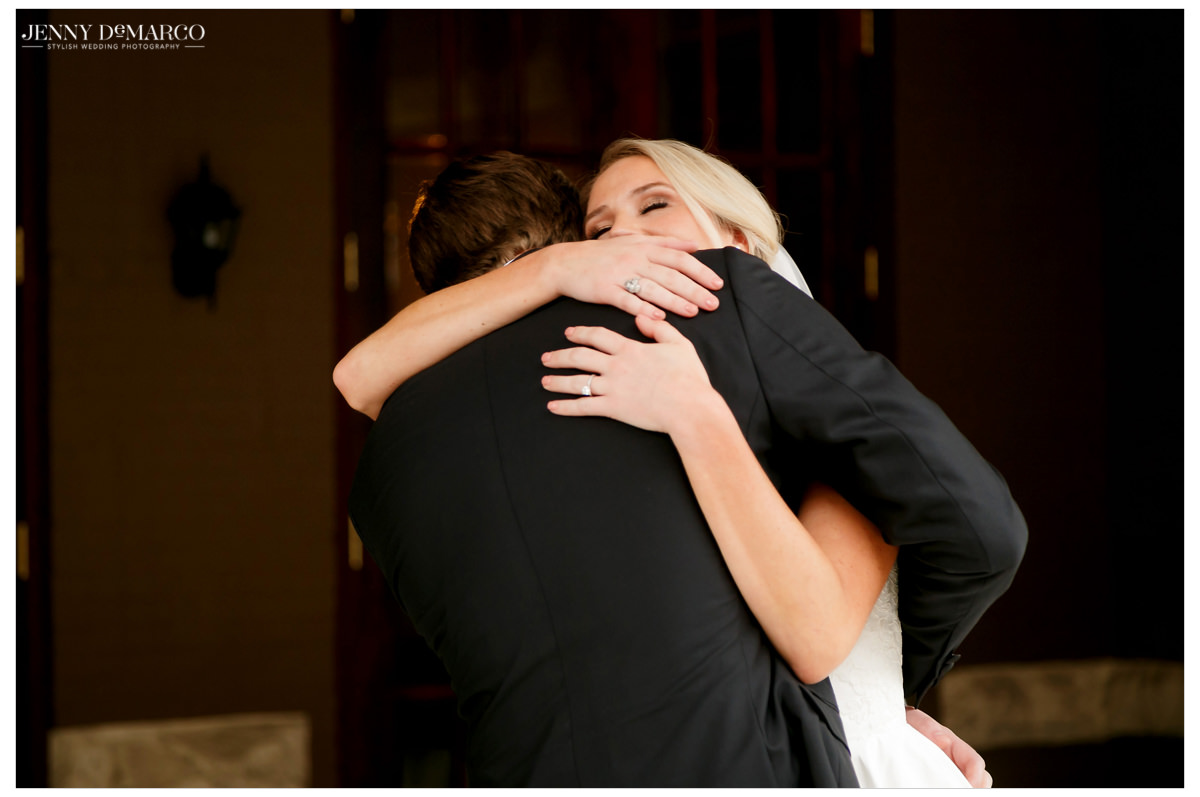 The couple embraces as they see each other for the first time.