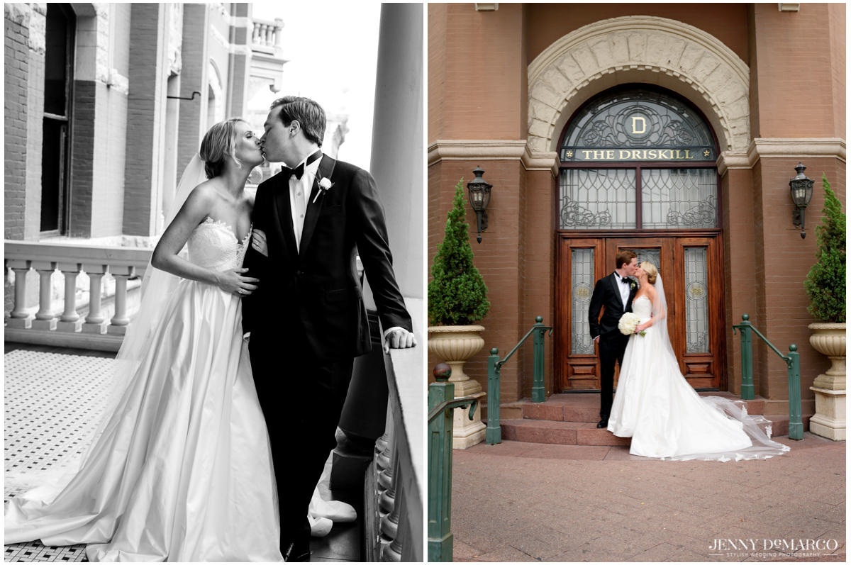 The couple poses in front of the Driskill Hotel.