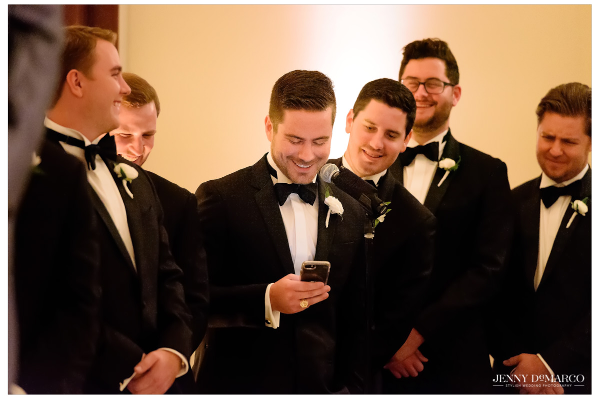 Groomsmen give a speech at the ceremony.
