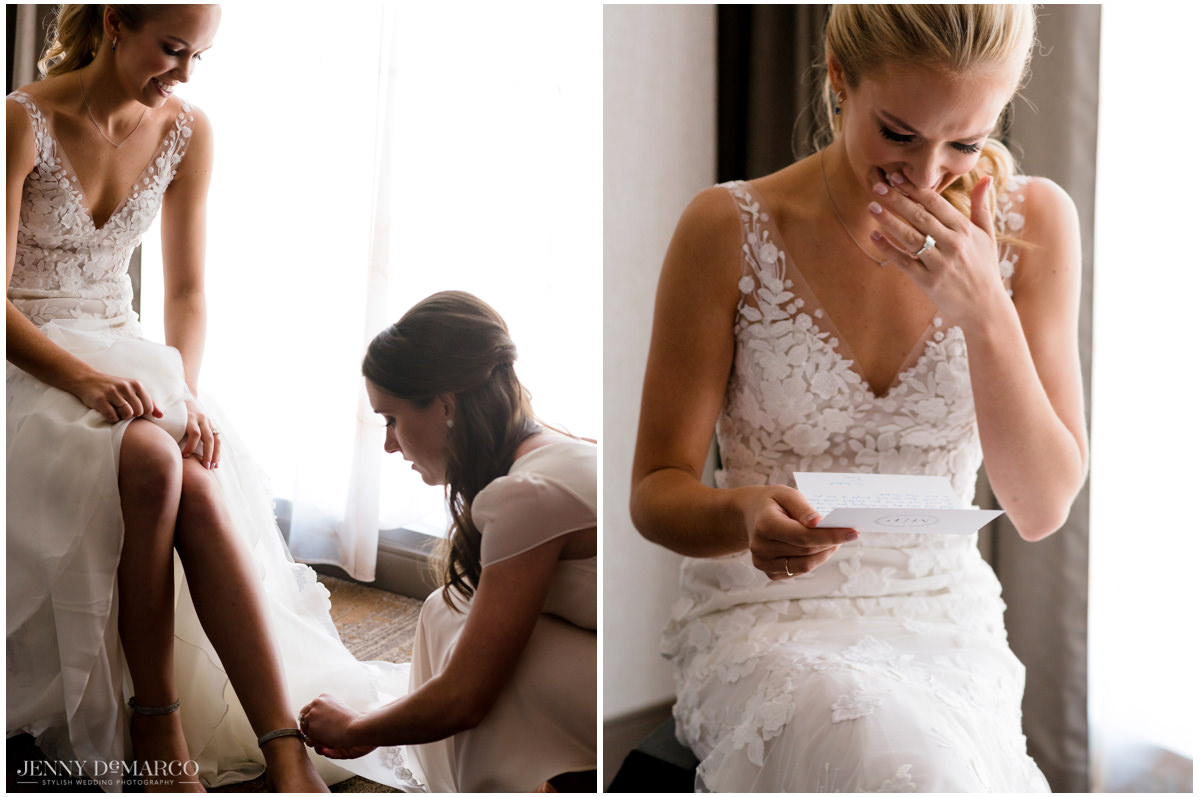 Bride reads the note written from her fiancé while putting on her heels.