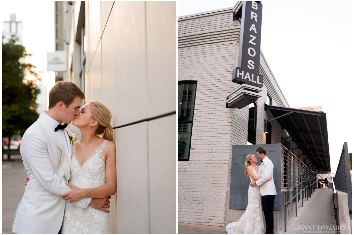 The couple poses around downtown Austin.