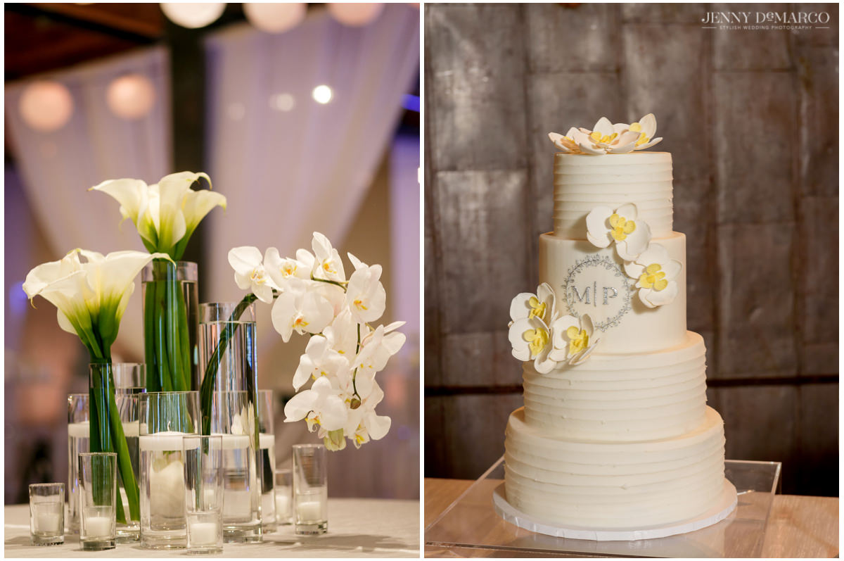 Detail photos of the white florals and white wedding cake.