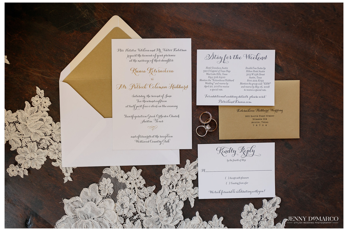 A spread of the wedding announcements and invitations.