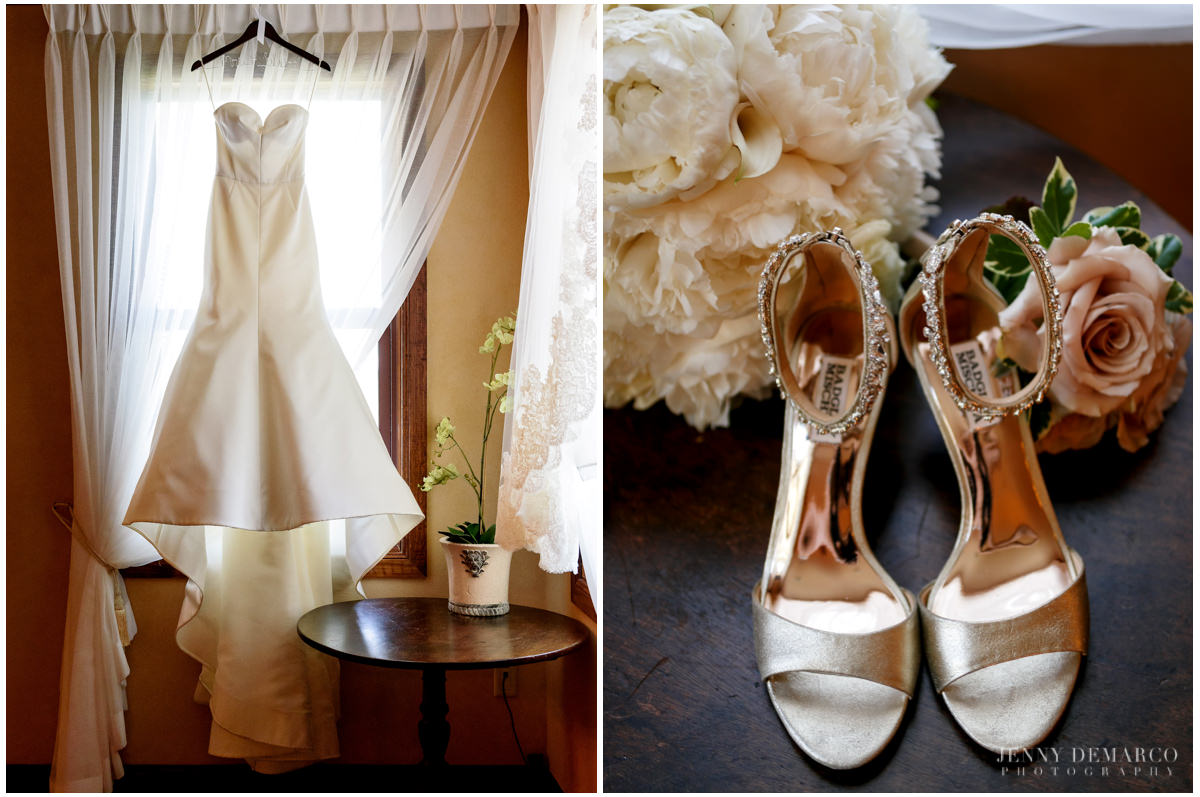 Details photos of the bride's satin wedding dresses and gold shoes.