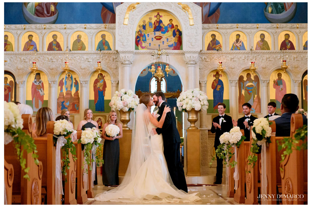 The couple shares their first kiss together as newly weds!