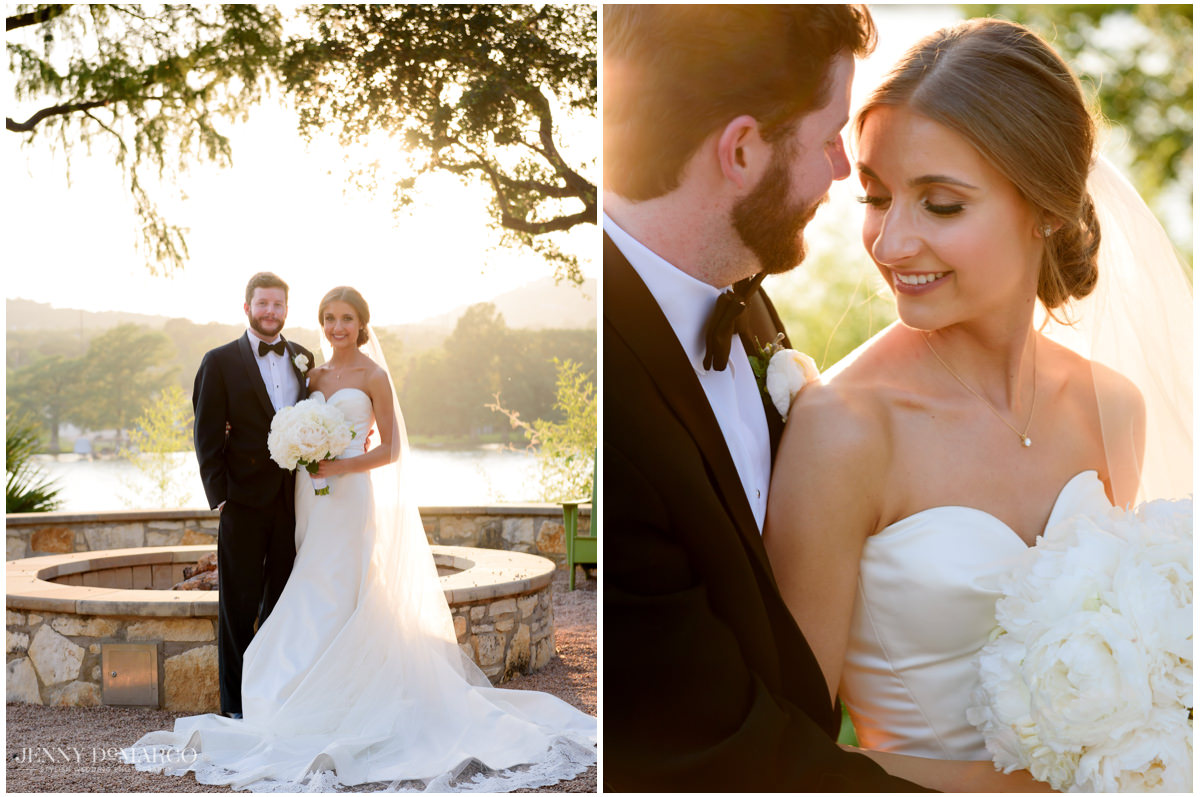 Bride and groom pose for photos outdoors.