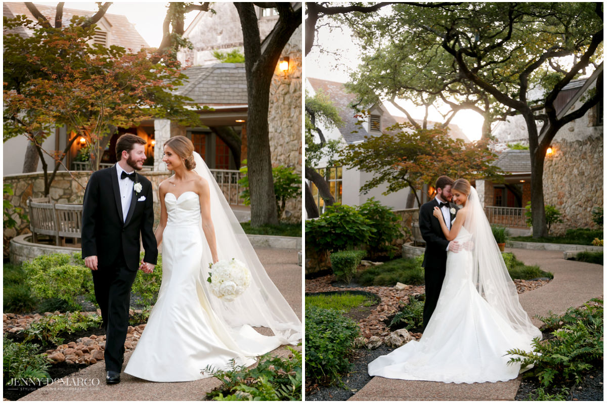 Bride and groom walk around the country club together.