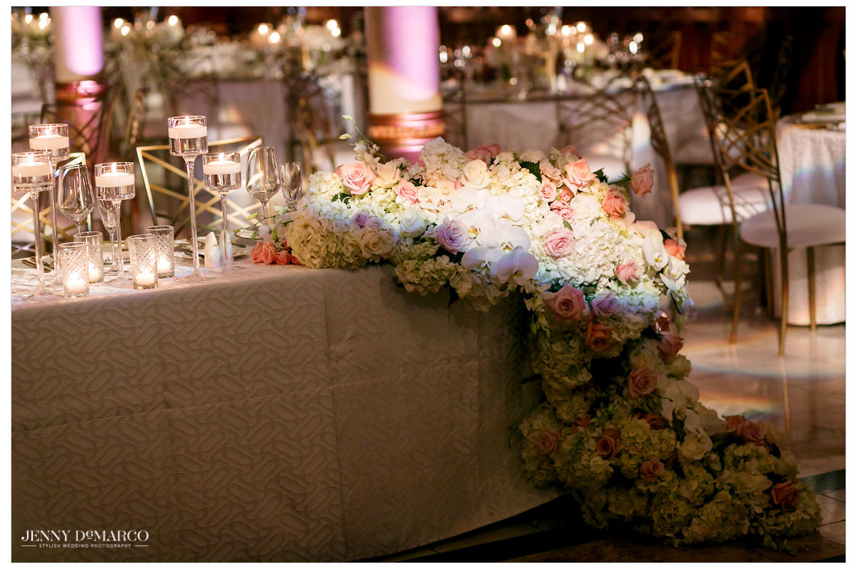 A beautiful white floral table cover.
