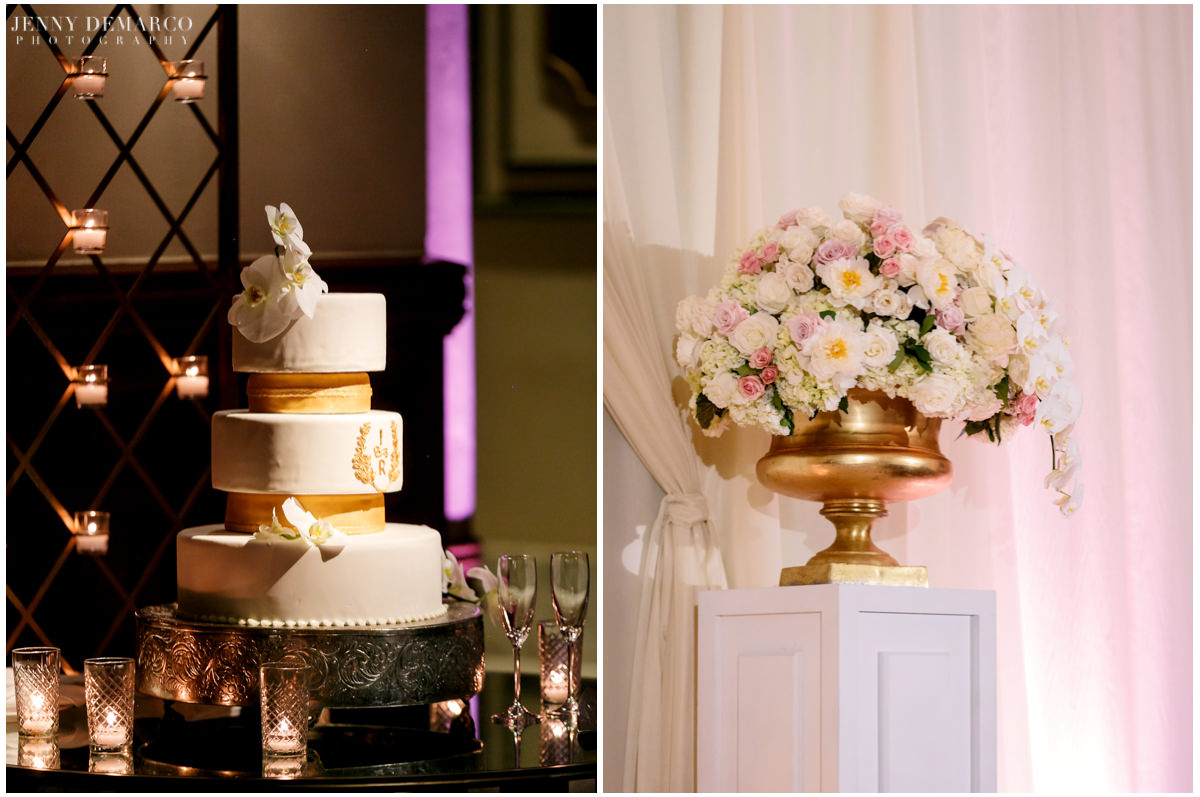 Detail photo of the wedding cake and white floral bouquet.