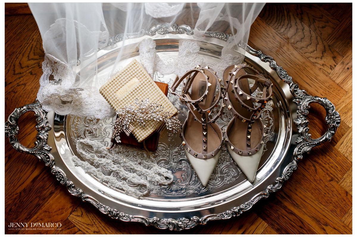 Detail photo of the bride's wedding attire.