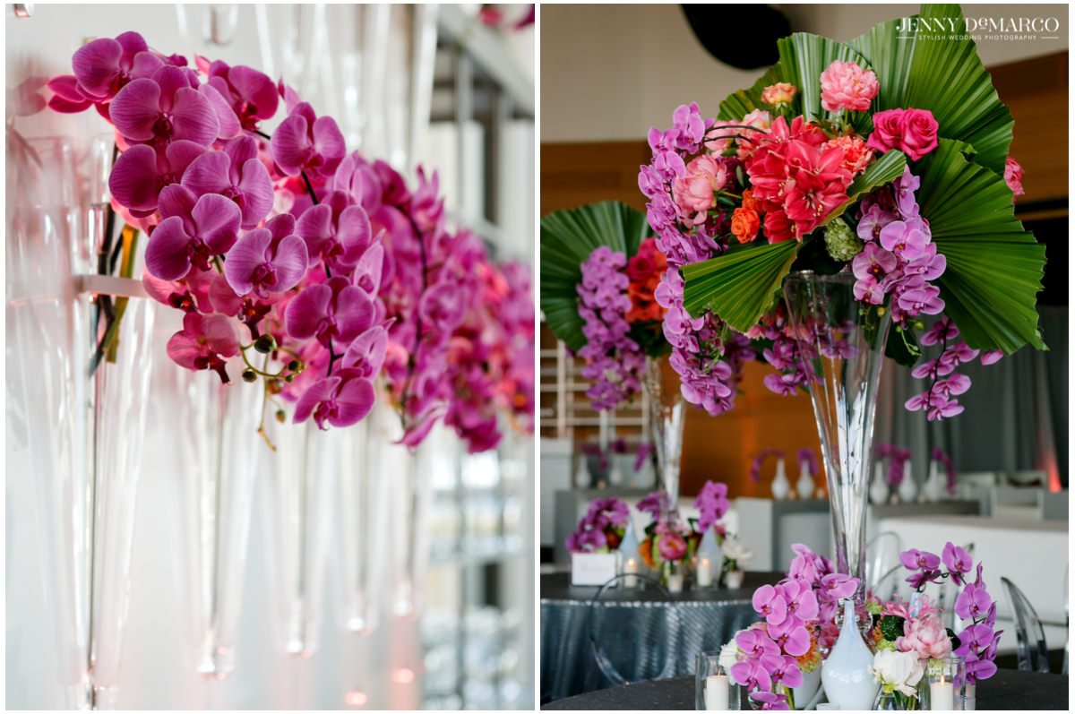 The reception is decorated with pink florals.