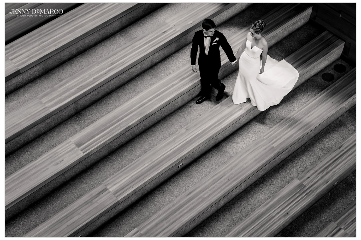 An above shot of the couple on stairs.